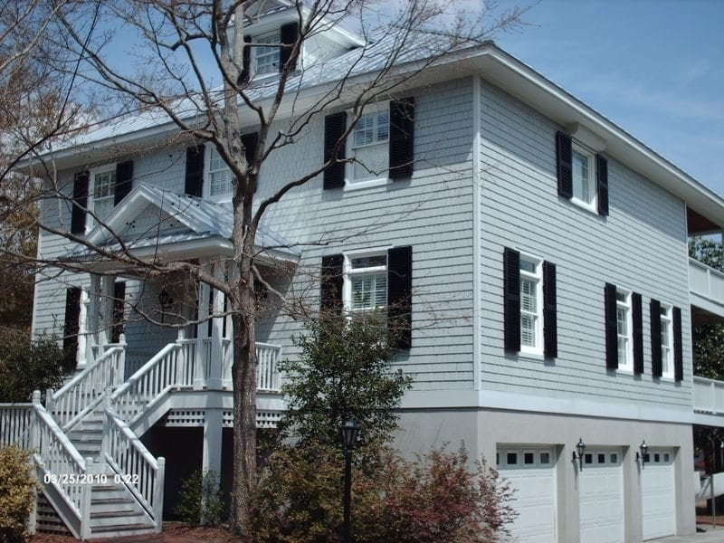 Colonial Shutters for Hurricane Protection on a Colonial Home in Wilmington, NC