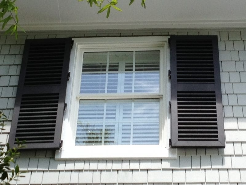 Closeup of Colonial Shutters for Hurricane Protection on a Colonial Home in Wilmington, NC